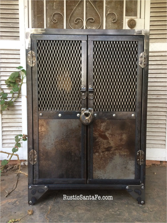 industrial steel locking liquor cabinet industrial nightstand vintage locker rustic cabinet wood