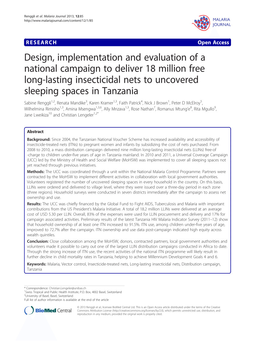 pdf design implementation and evaluation of national campaign to deliver 18 million free long lasting insecticidal nets to uncovered sleeping spaces in