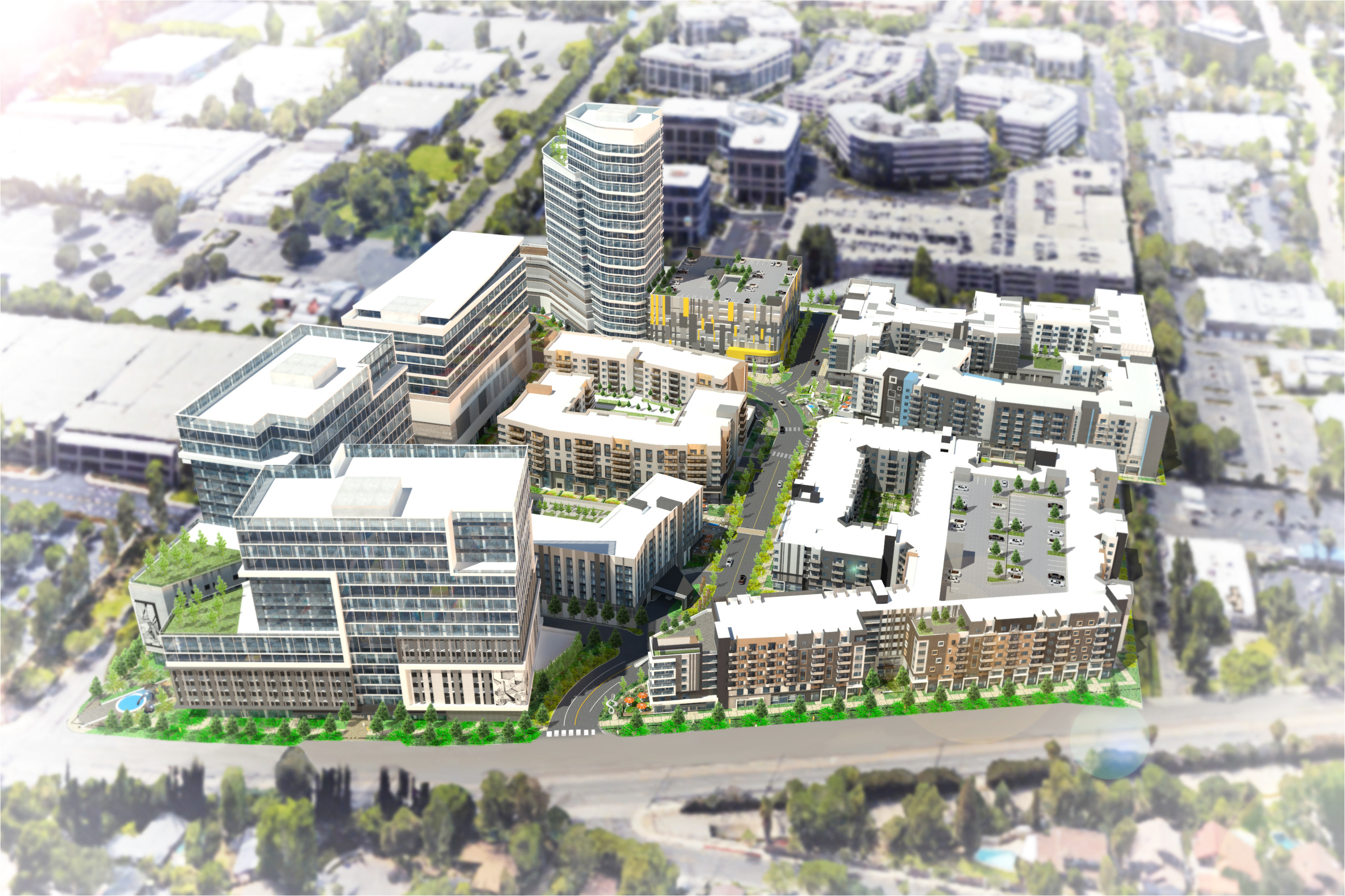 first renderings of warner center residential office hotel complex curbed la