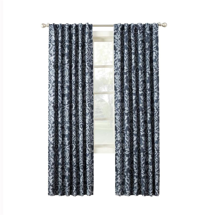 Lowes Curtains and Drapes Allen Roth Marbella 95 In Indigo Polyester Back Tab Room Darkening