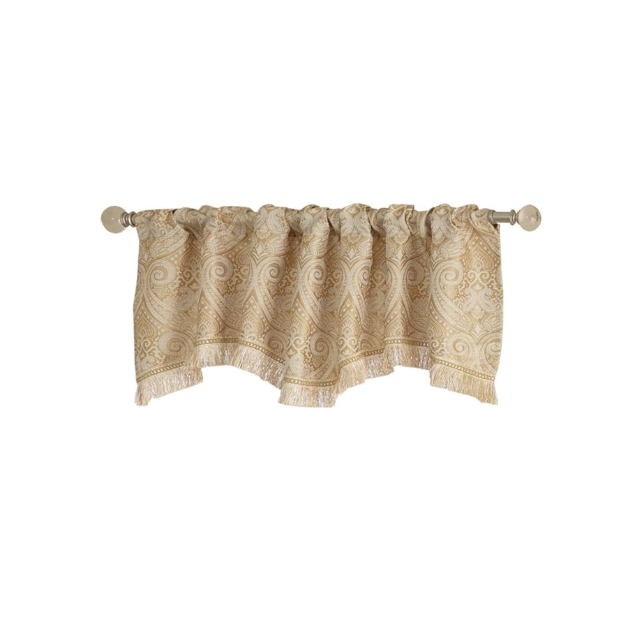 shop allen roth 16 in l gold raja ascot valance at lowes com