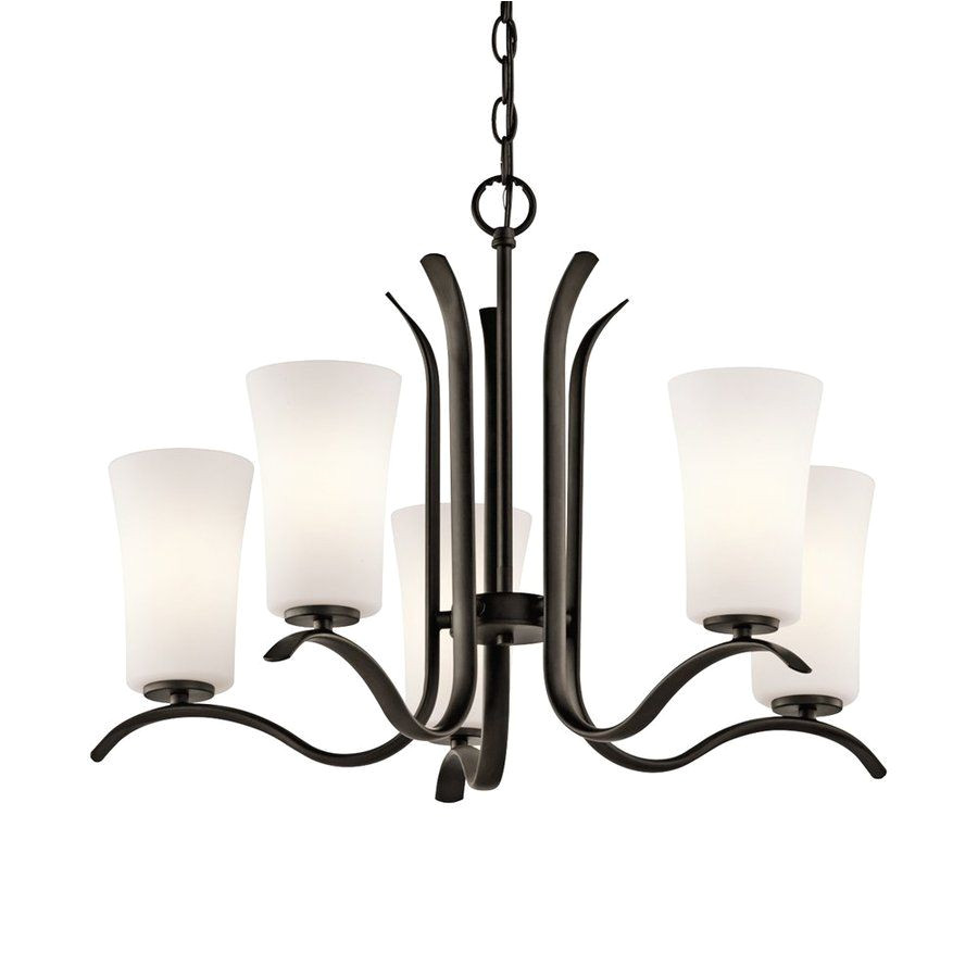 kichler armida 25 25 in 5 light olde bronze etched glass shaded chandelier 43074oz