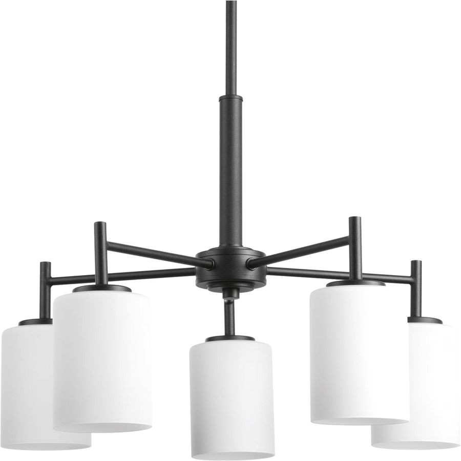 progress lighting replay 21 in 5 light black etched glass shaded chandelier lowes