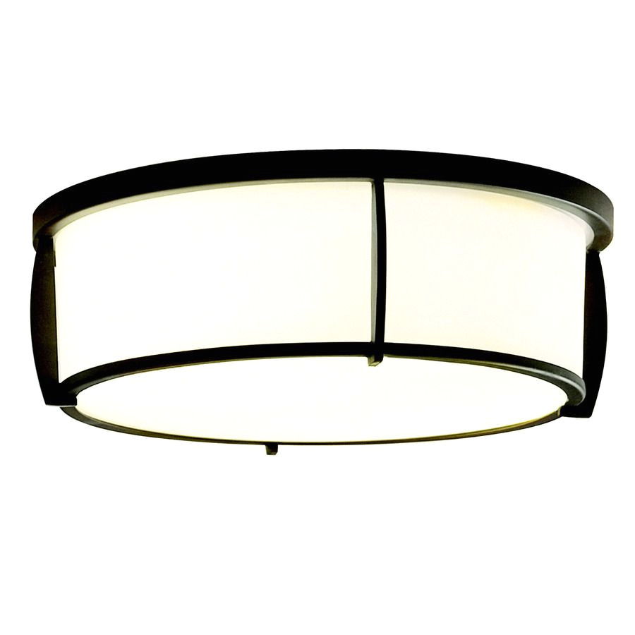 shop allen roth 12 91 in w oil rubbed bronze ceiling flush mount light