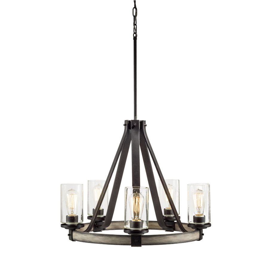 shop kichler lighting barrington 5 light anvil iron and driftwood chandelier at lowes com