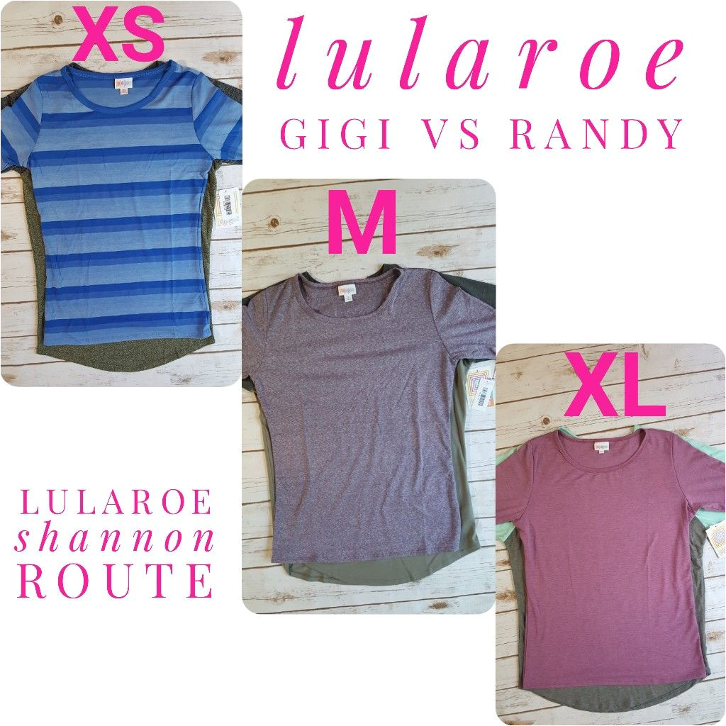 sizing comparison of the lularoe gigi and randy lularoe lularoeshannonroute lularoefashion lularoegigi lularoerandy