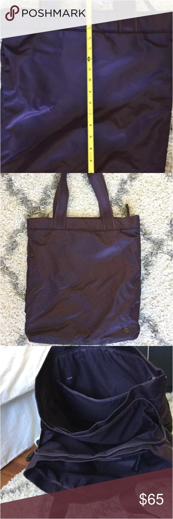 lululemon double up gym bag tote excellent condition lululemon double up gym tote bag in black