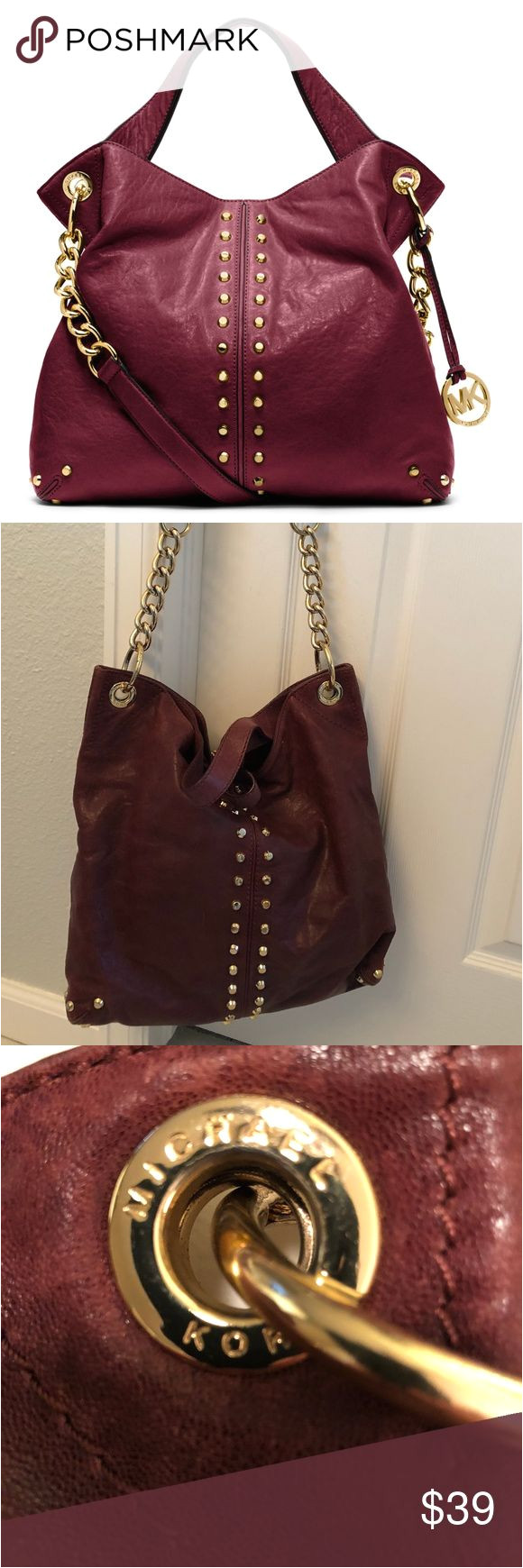 michael kors astor leather studded hobo authentic michael kors astor studded handbag with gold hardware color is a deep purple 2 shoulder straps and