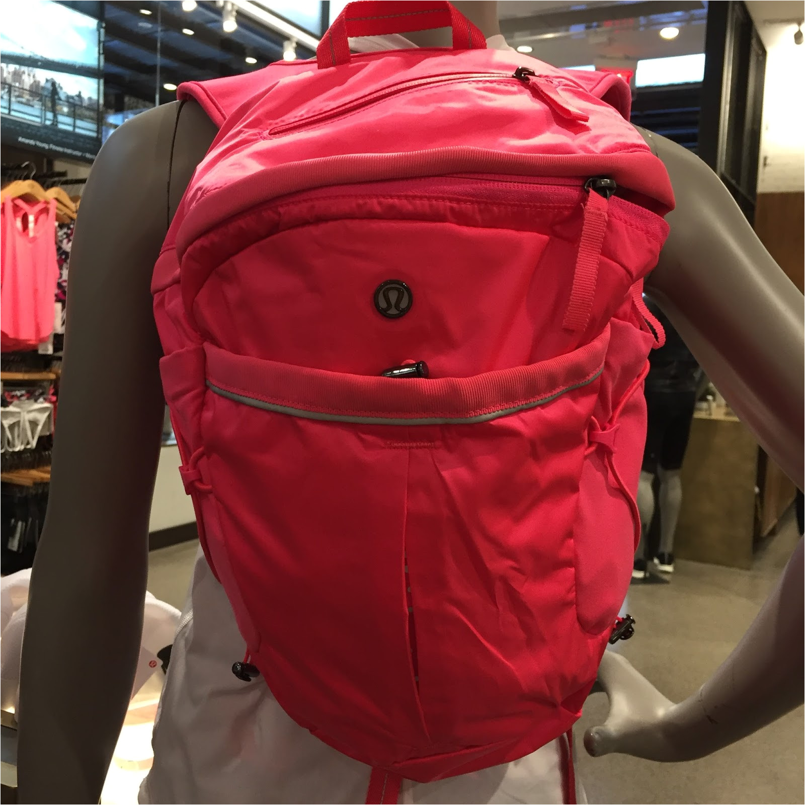 first thing i spotted was the new run all day backpack in neon pink super cute i have to remind myself that i already have one and do not need another