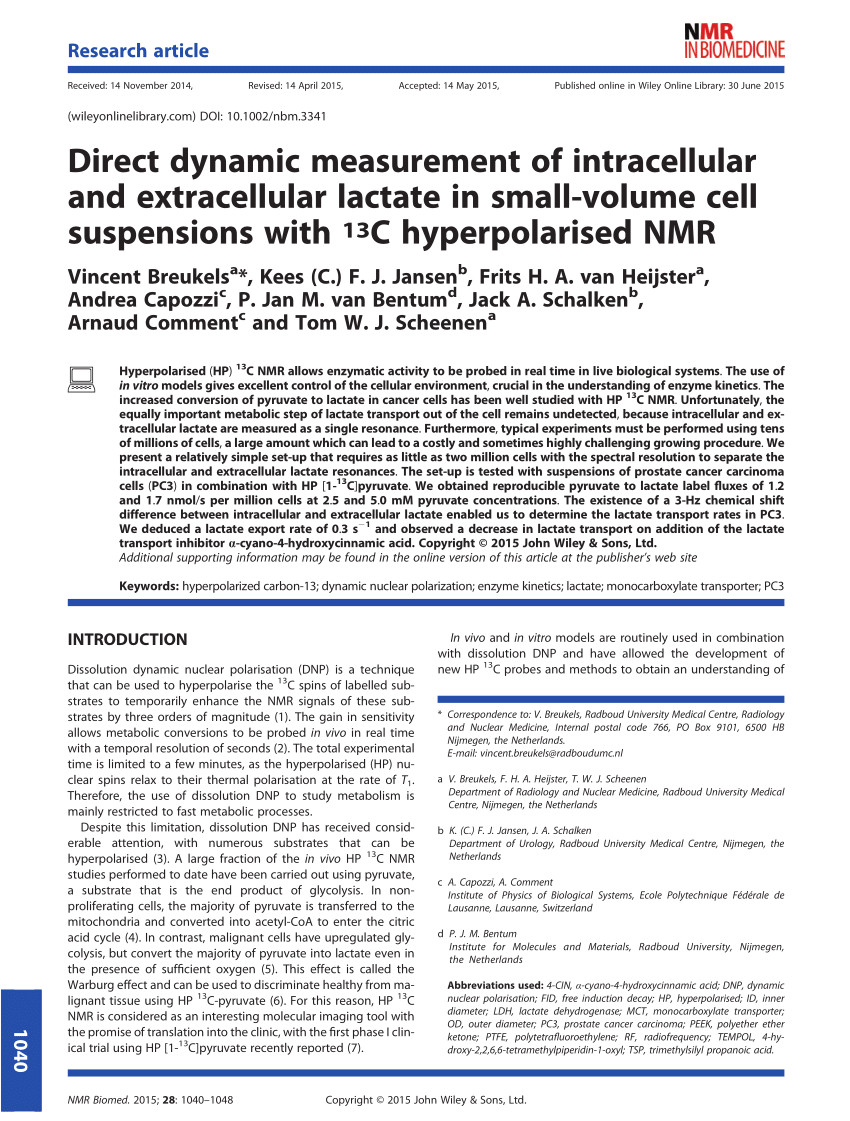 pdf direct dynamic measurement of intracellular and extracellular lactate in small volume cell suspensions with 13 c hyperpolarised nmr