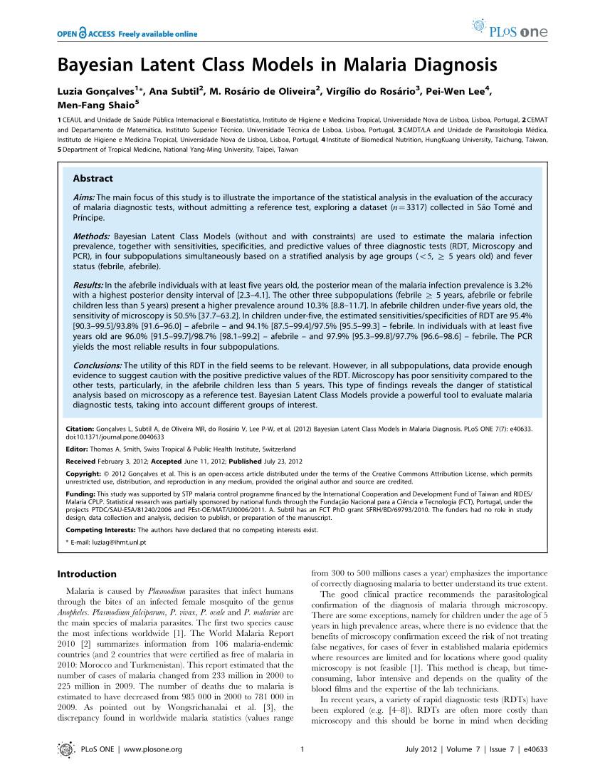 pdf bayesian latent class models in malaria diagnosis