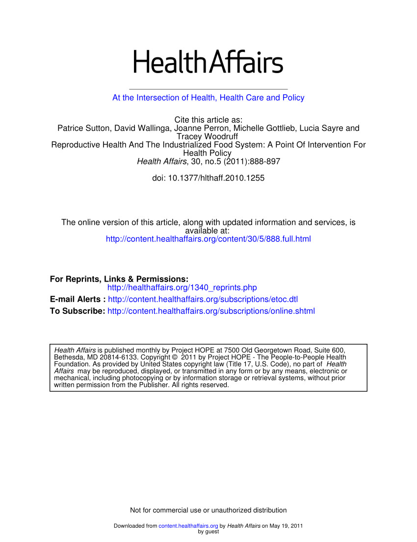 pdf reproductive health and the industrialized food system a point of intervention for health policy