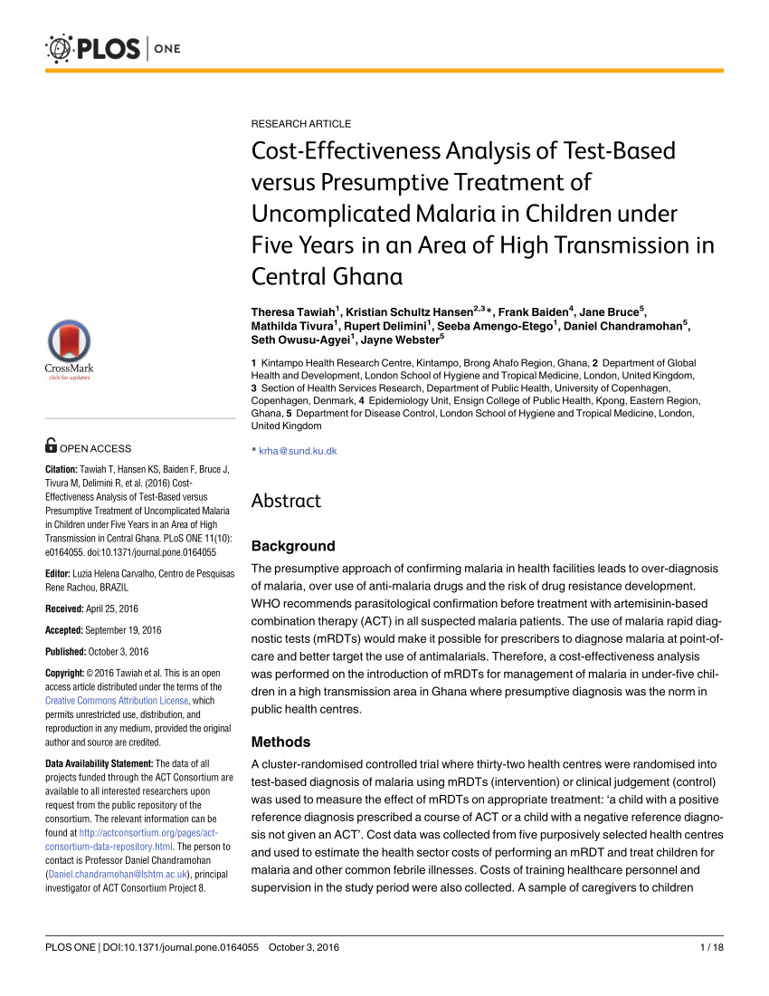 pdf simulations show diagnostic testing for malaria in young african children can be cost saving or cost effective