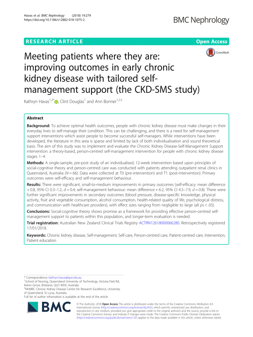 pdf meeting patients where they are improving outcomes in early chronic kidney disease with tailored self management support the ckd sms study