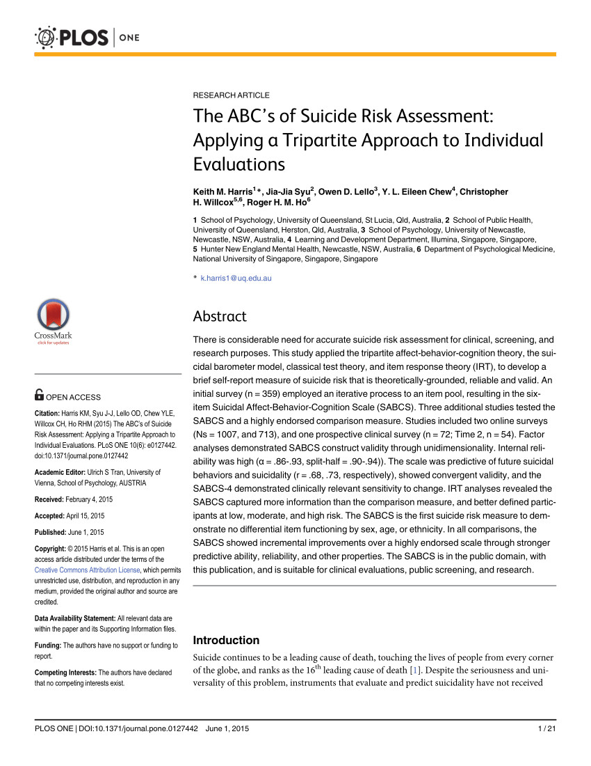 pdf the abc s of suicide risk assessment applying a tripartite approach to individual evaluations