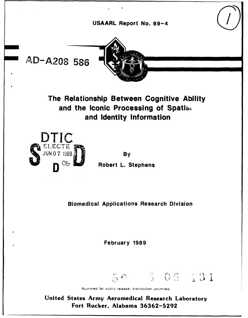 pdf the relationship between cognitive ability and the iconic processing of spatial and identity information