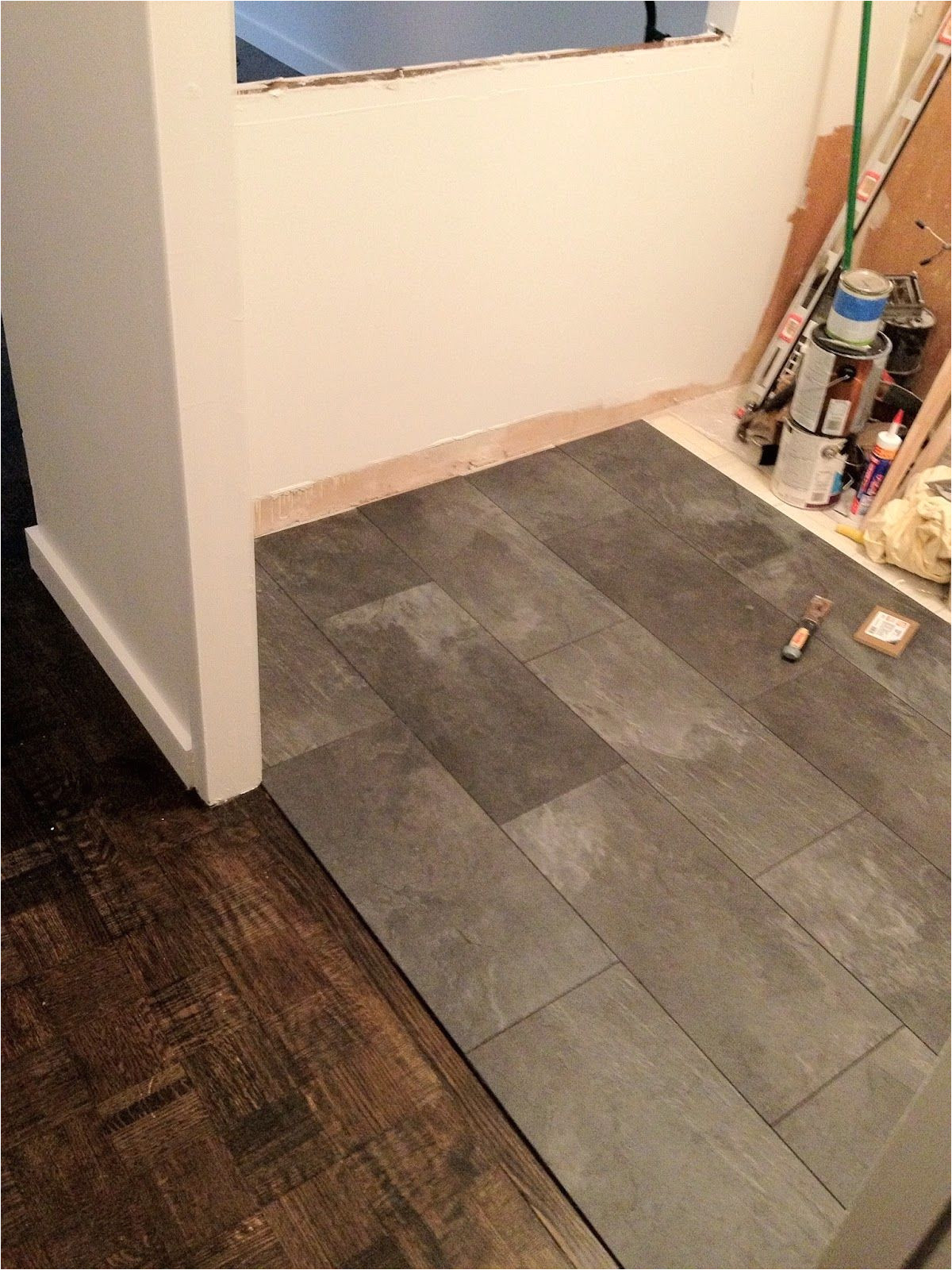 the kitchen floor looks like slate but its really a pergo textured laminate floor my goal was to avoid using a tile guy and take full a