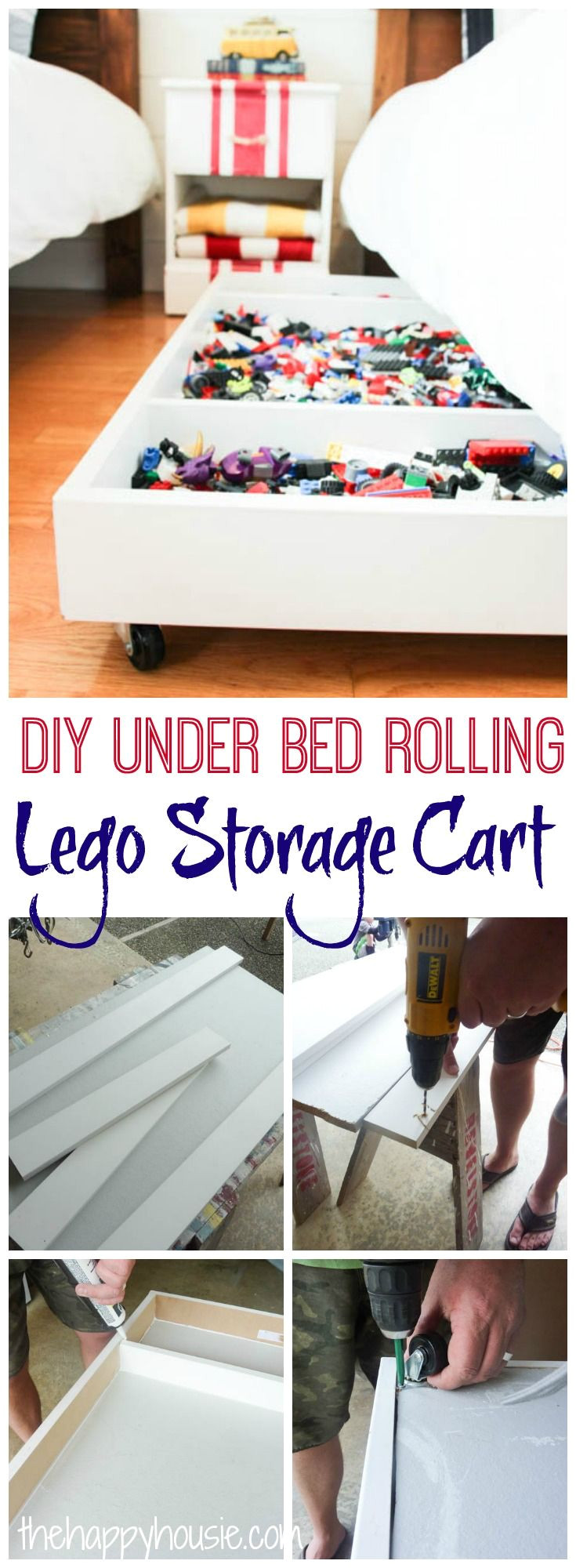 tackle your lego storage issues with this diy under bed rolling lego storage cart