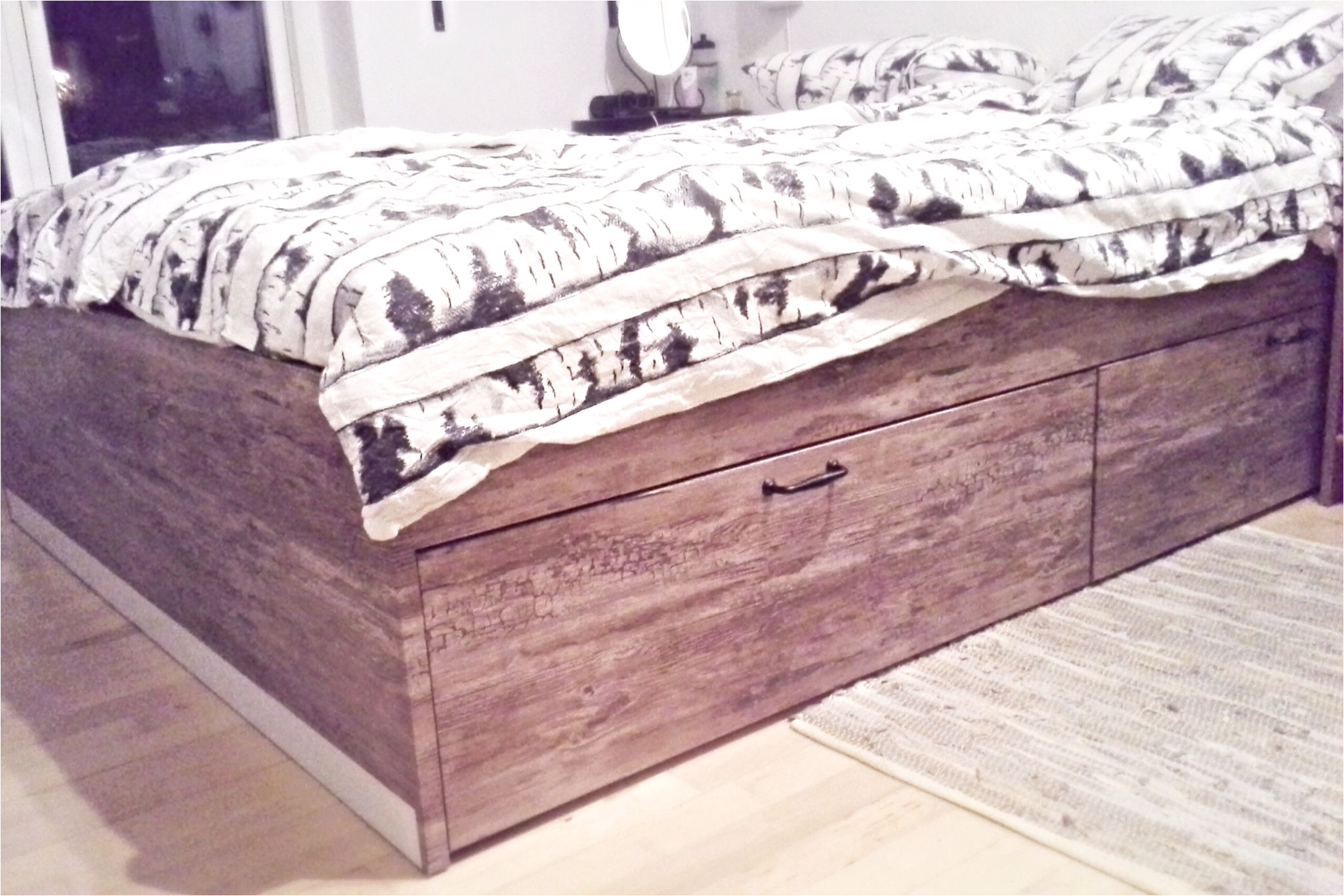 my new hacked ikea bed ikea brimnes with wood adhesive and foglavik handles