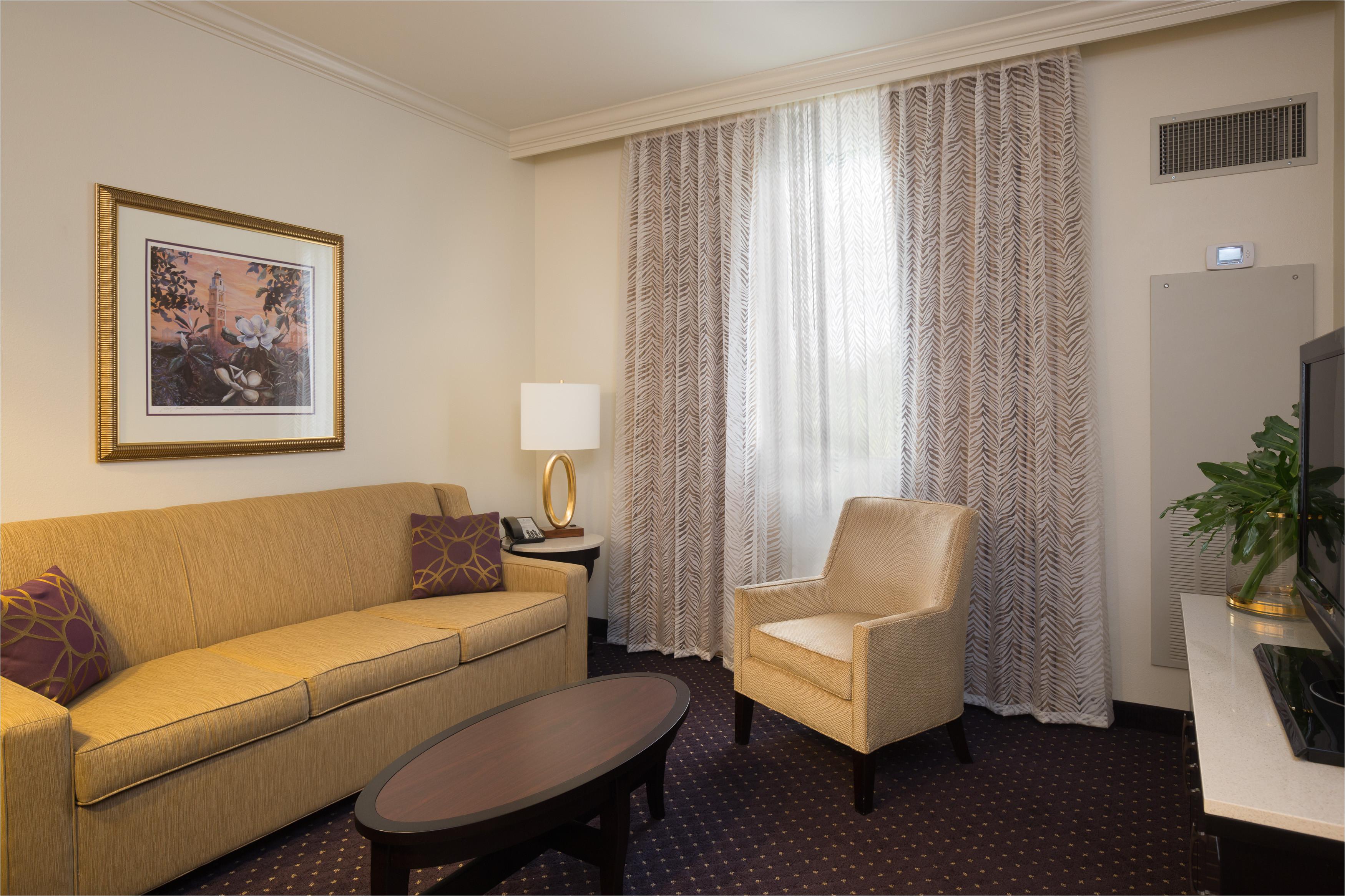 luxury suite living area with queen sleeper sofa