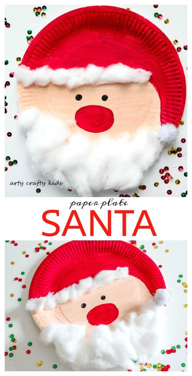 arty crafty kids seasonal easy chrsitmas craft paper plate santa super cute