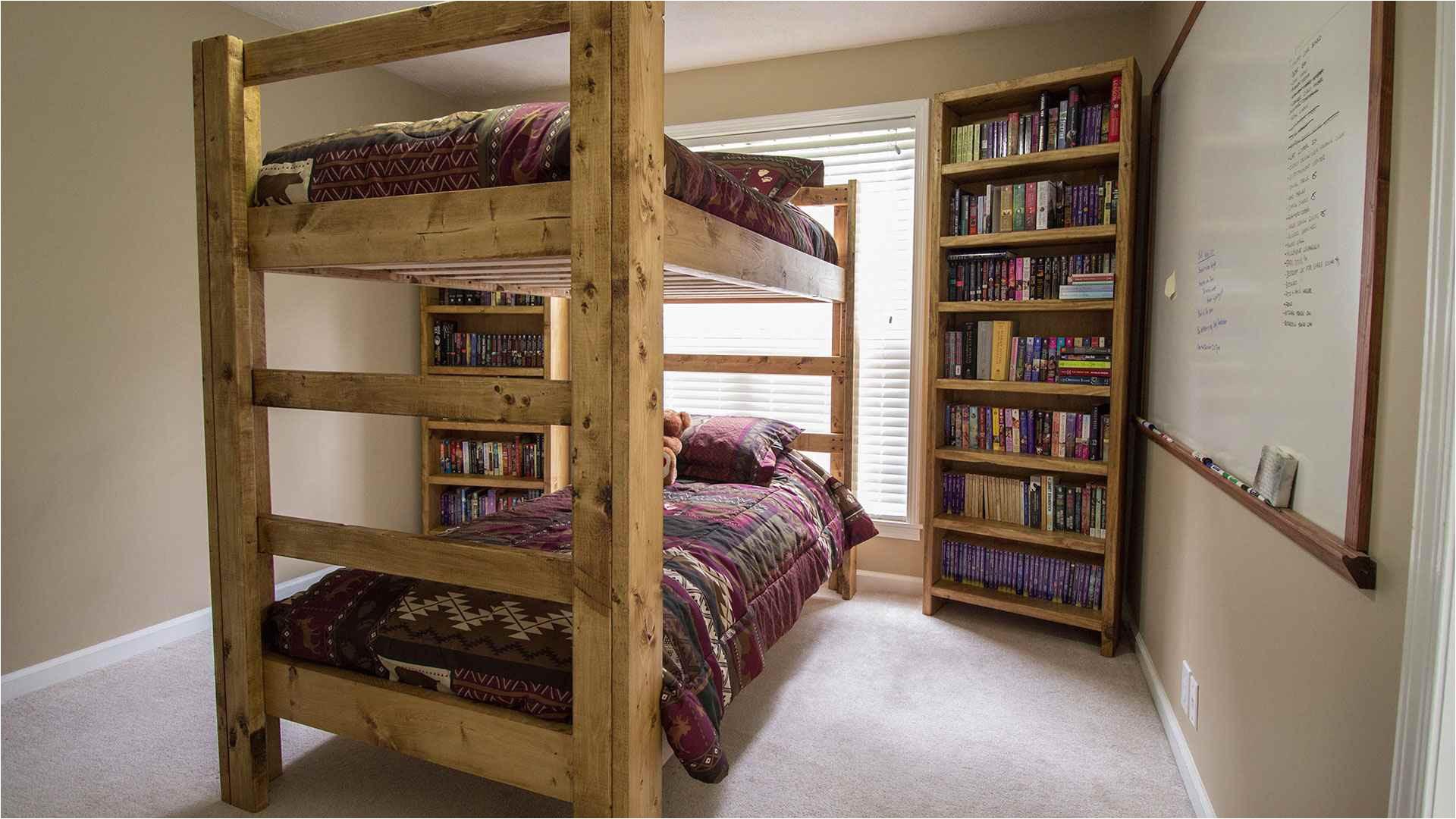 a wooden diy bunk bed
