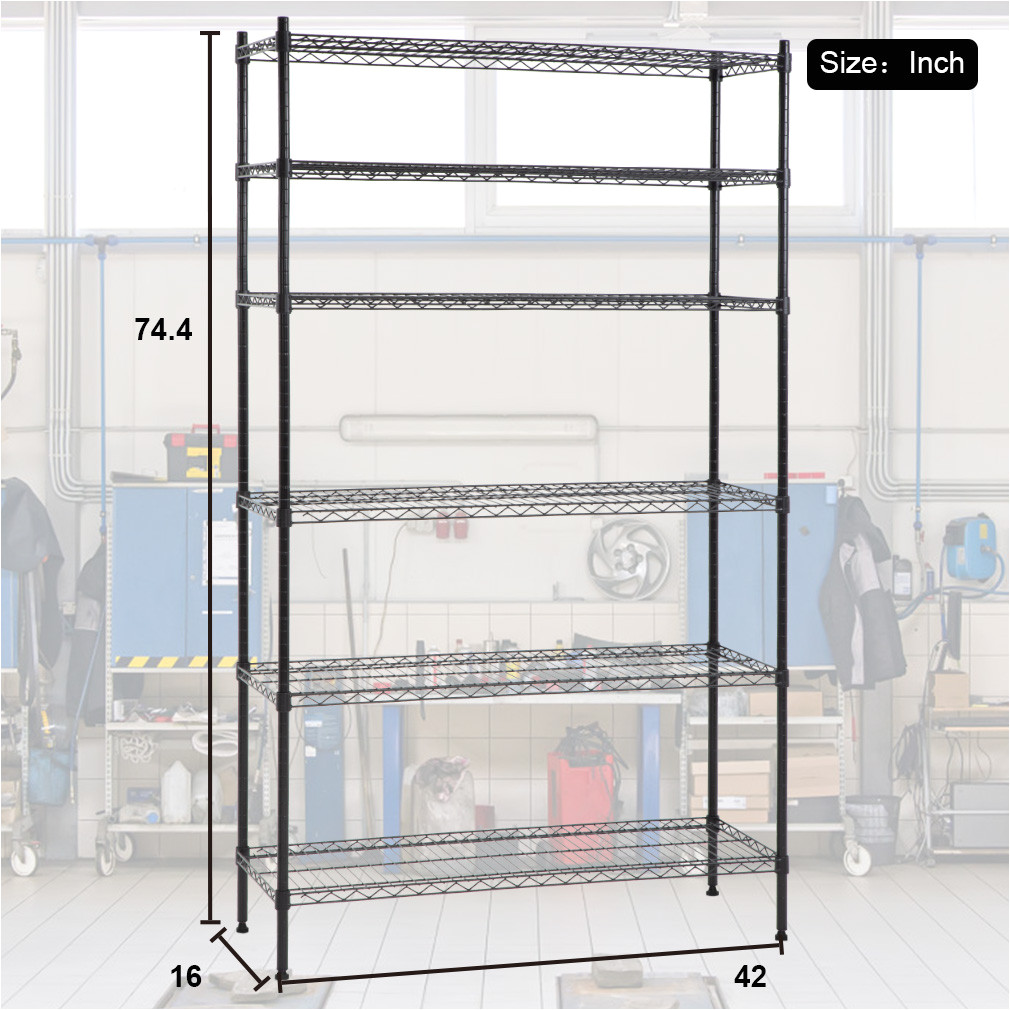 6 shelf wire shelving unit heavy duty metal storage shelves nsf wire shelf organizer black height adjustable utility rolling steel commercial grade layer
