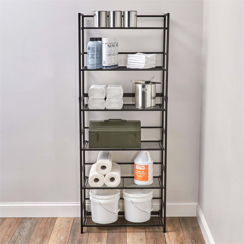 flipshelf folding metal shelf no assembly bookcase style 6 shelves wide walmart com