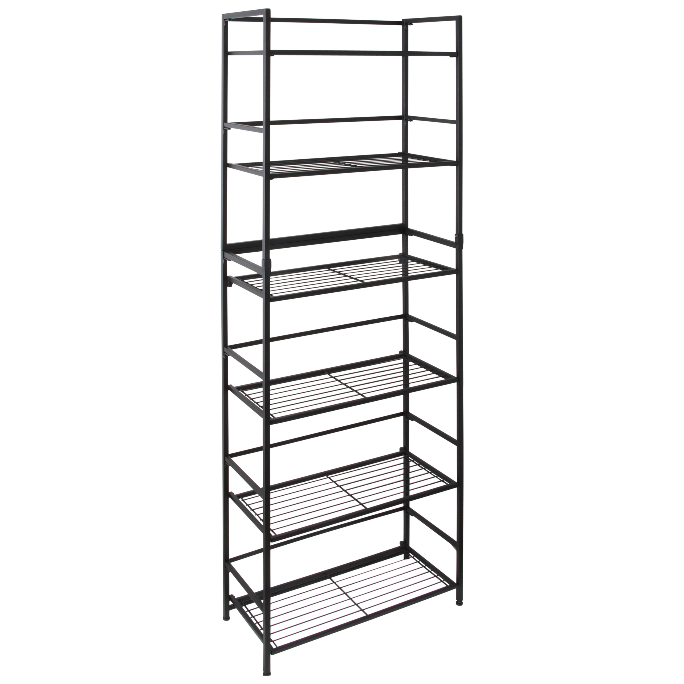 flipshelf folding metal shelf no assembly bookcase style 6 shelves wide walmart com