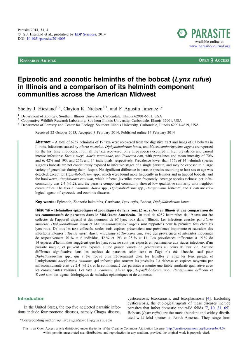 pdf epizootic and zoonotic helminths of the bobcat lynx rufus in illinois and a comparison of its helminth component communities across the american