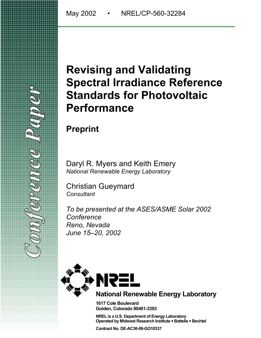 pdf revising and validating spectral irradiance reference standards for photovoltaic performance evaluation