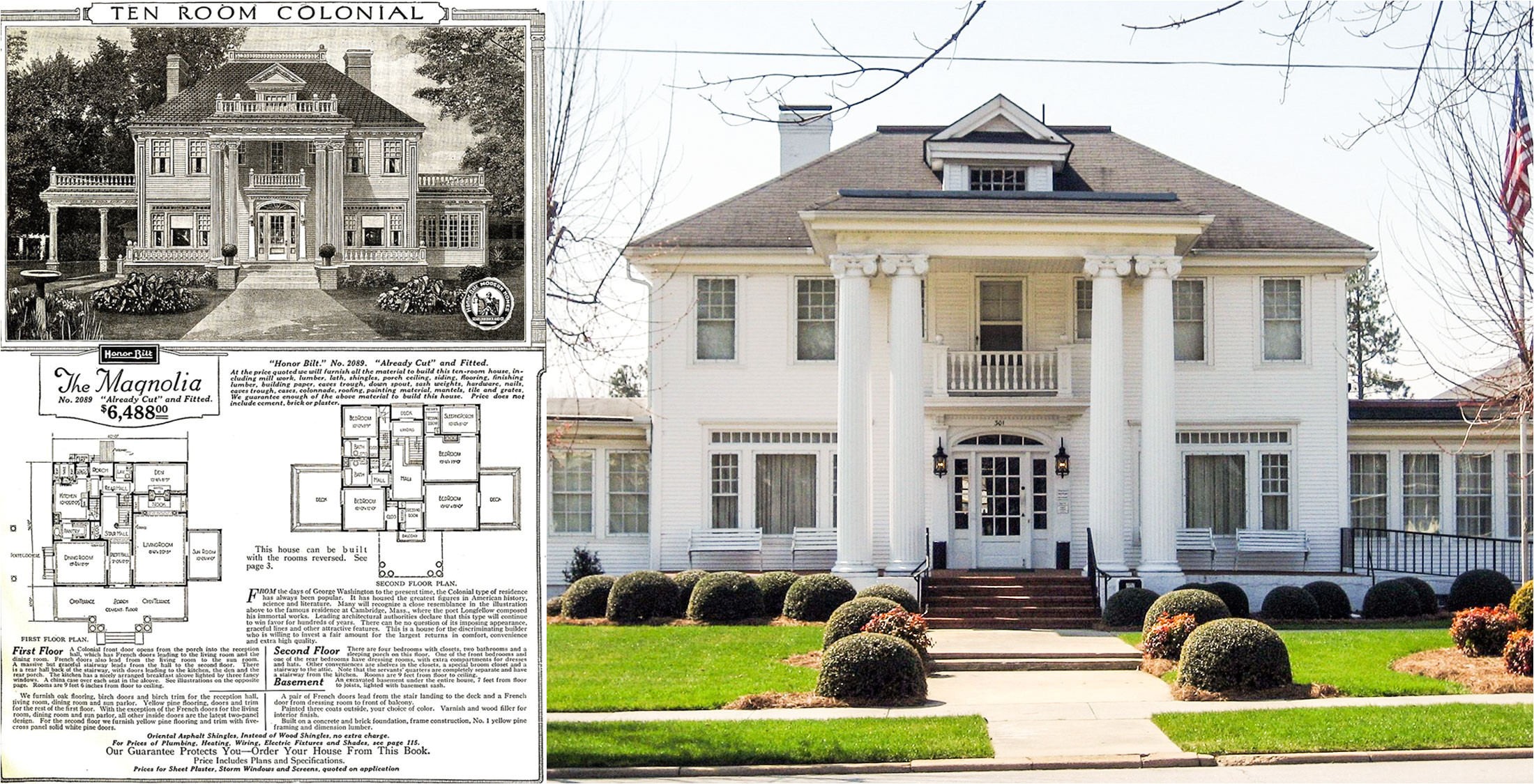 catalog image and floorplan of sears magnolia model and magnolia kit house located benson