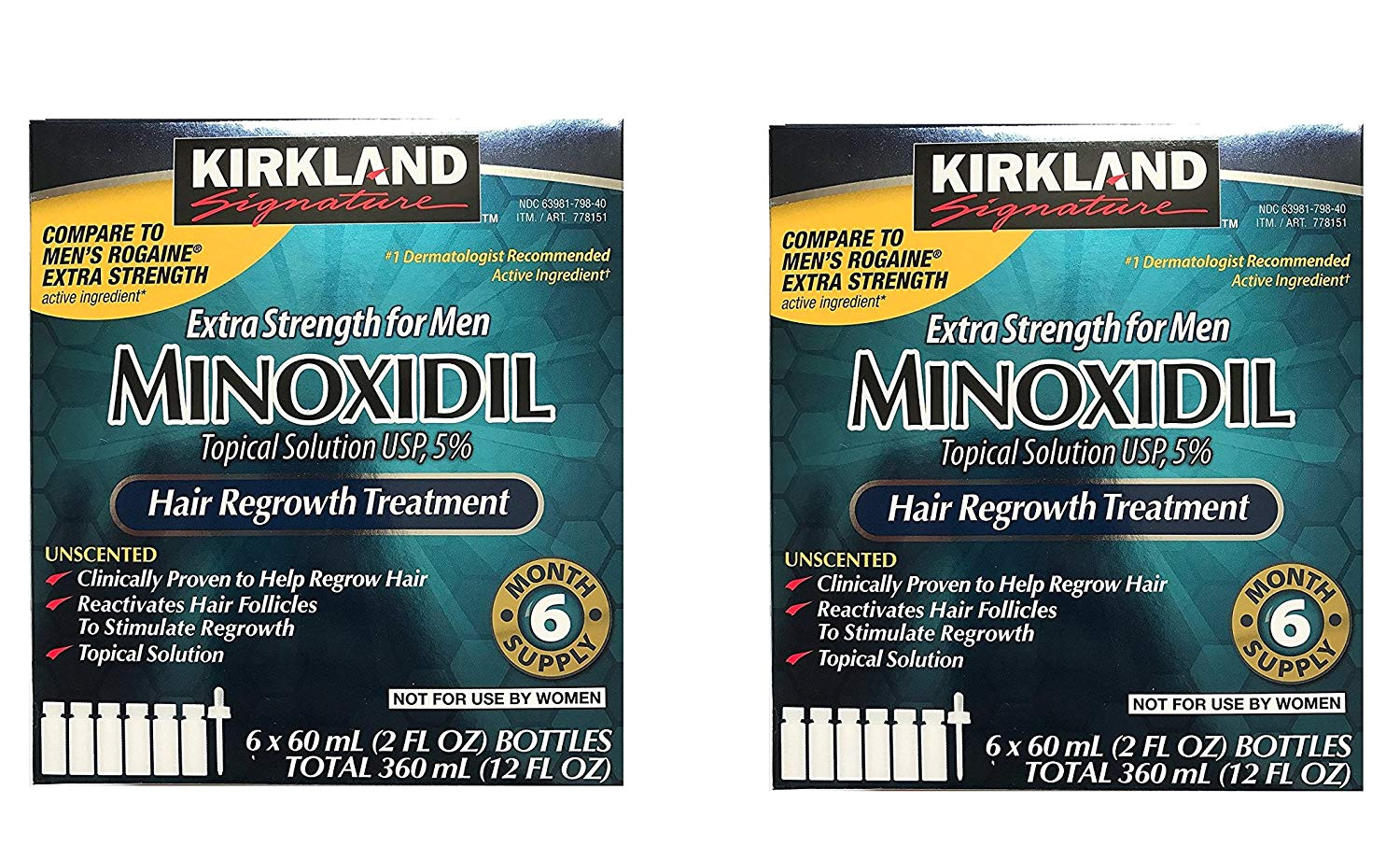 amazon com kirkland minoxidil 5 percent extra srength uyfzax hair regrowth for men 6 month supply 2 ounce bottle 6 count 2 pack health personal