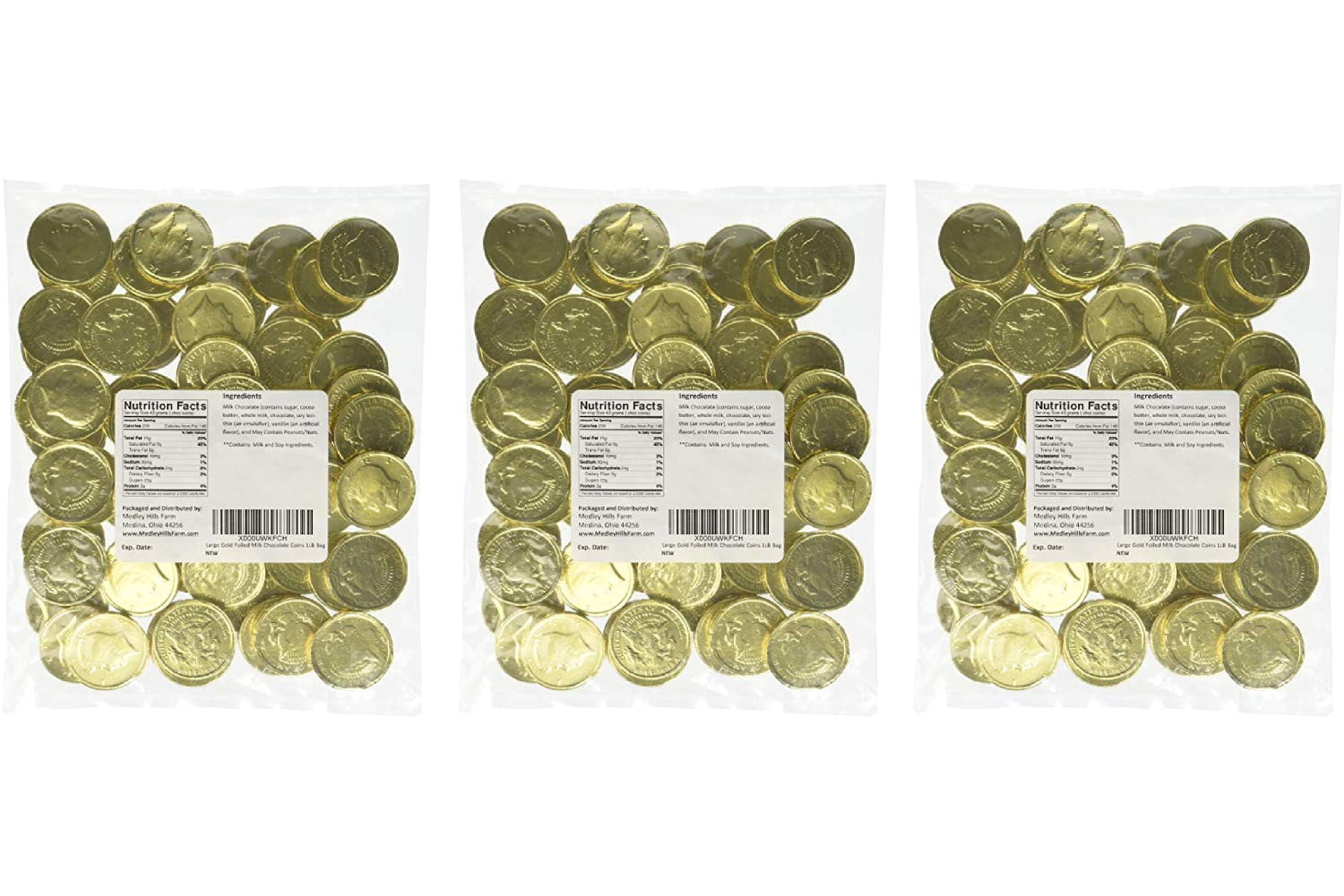 amazon com large gold foiled milk chocolate coins 1lb bag chocolate assortments and samplers grocery gourmet food