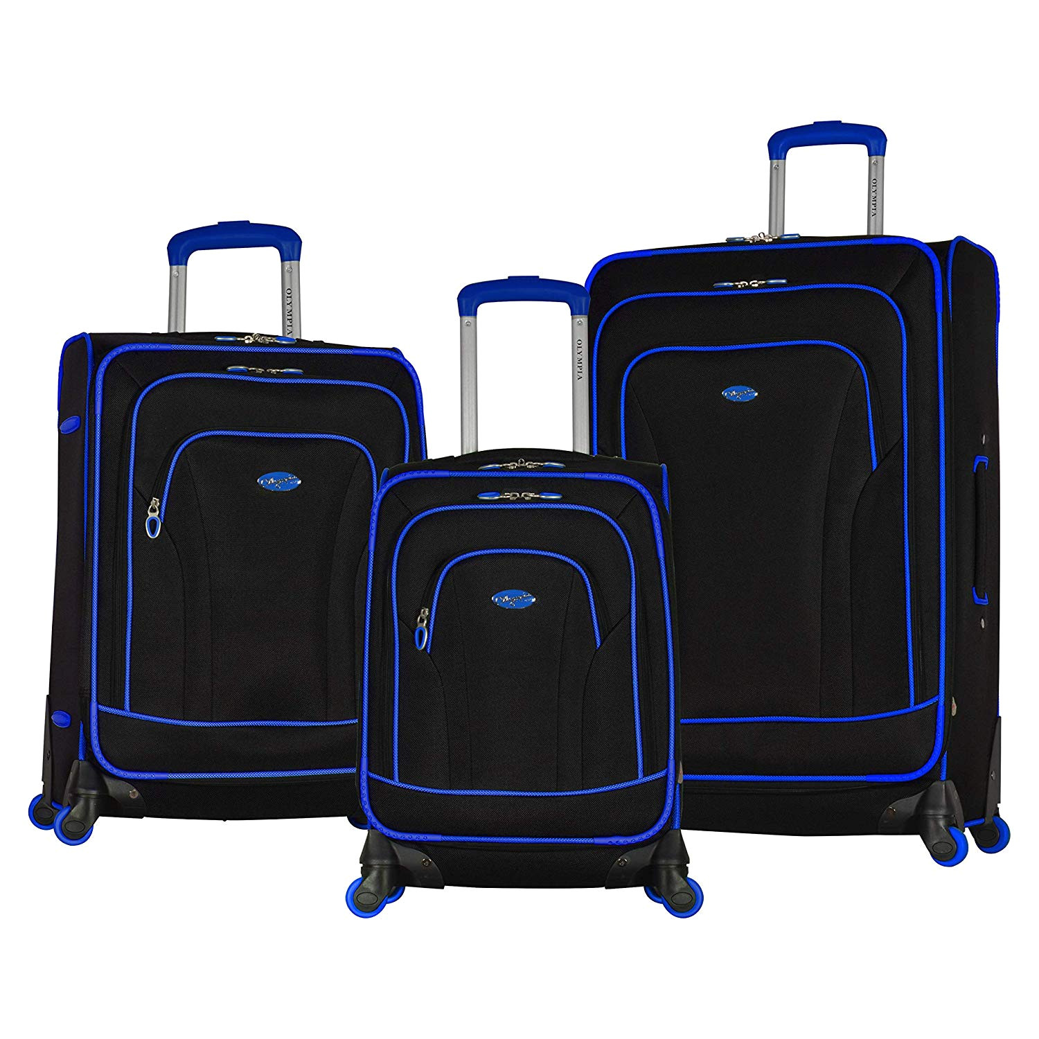 amazon com olympia santa fe 3 piece softside spinner luggage set 21 25 29 black blue luggage sets
