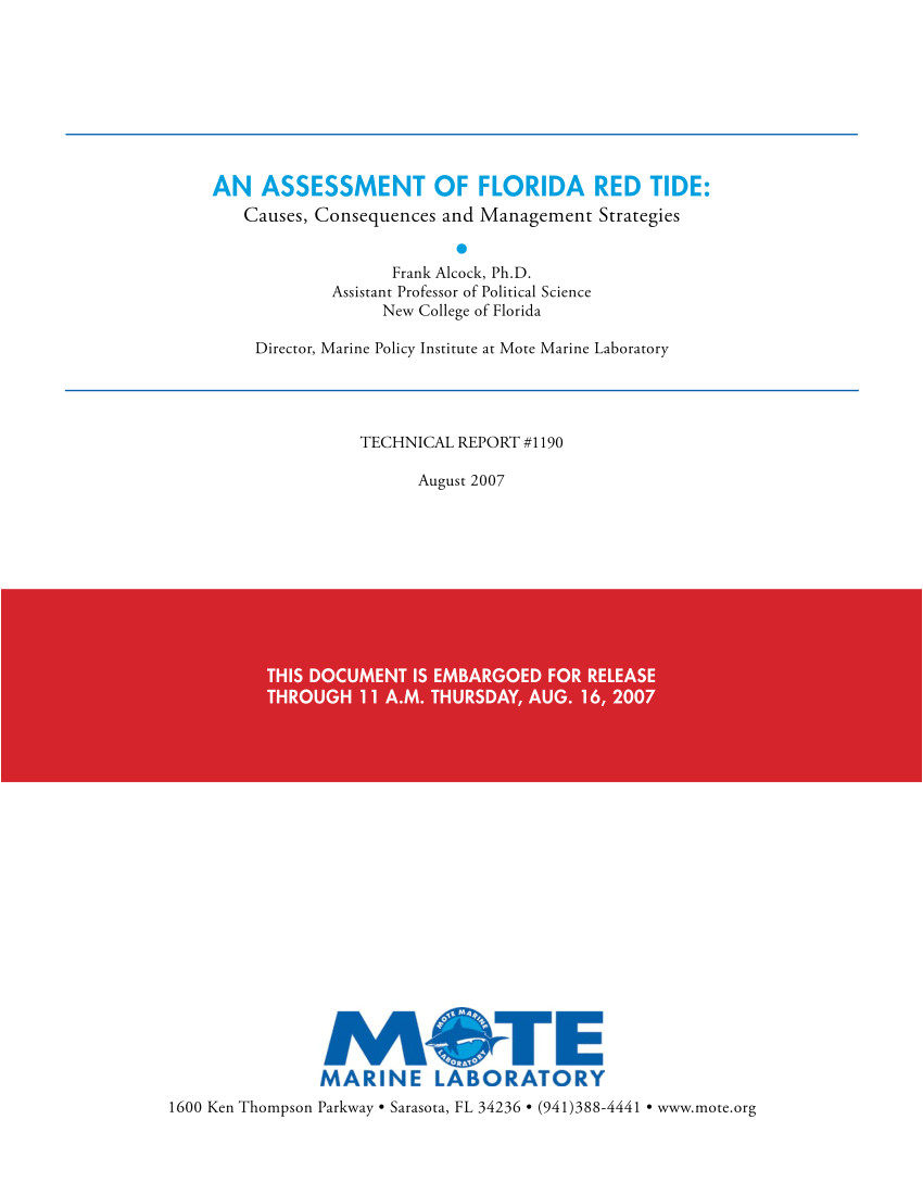 pdf an assessment of florid a r ed t ide causes consequences and management strategies