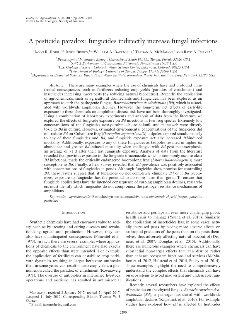 pdf a pesticide paradox fungicides indirectly increase fungal infections