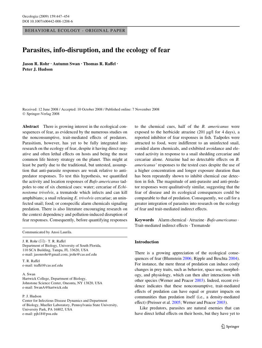 pdf parasites info disruption and the ecology of fear