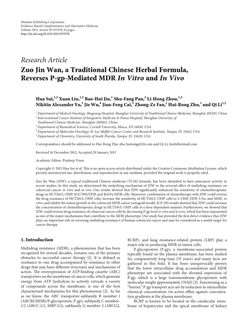 pdf zuo jin wan a traditional chinese herbal formula reverses p gp mediated mdr in vitro and in vivo