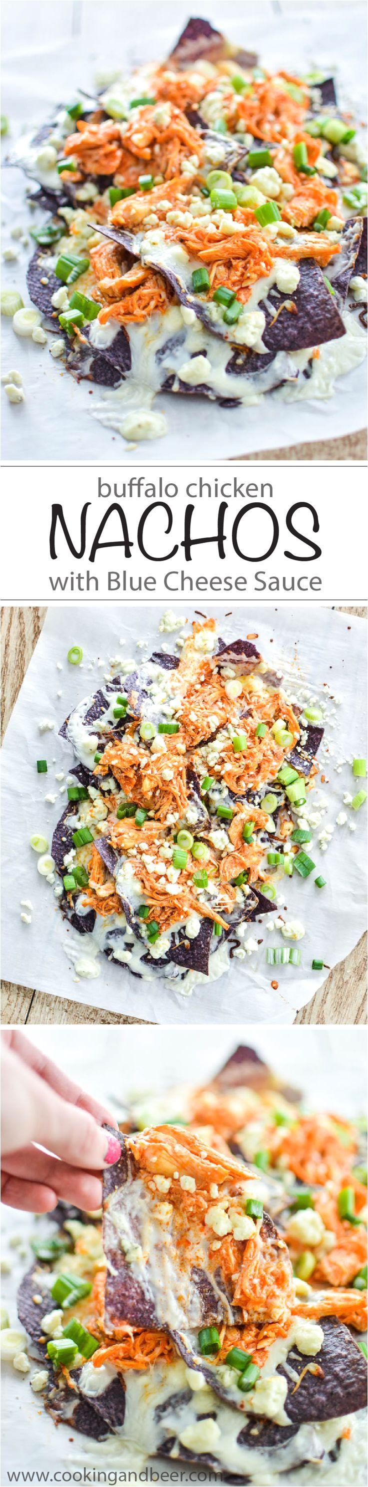 buffalo chicken nachos with blue cheese sauce
