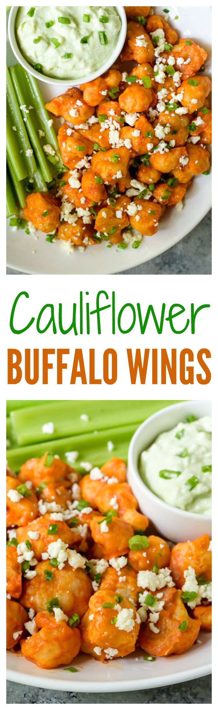 light and crispy baked cauliflower bites with spicy buffalo sauce the perfect football party appetizer and tailgate food for game day
