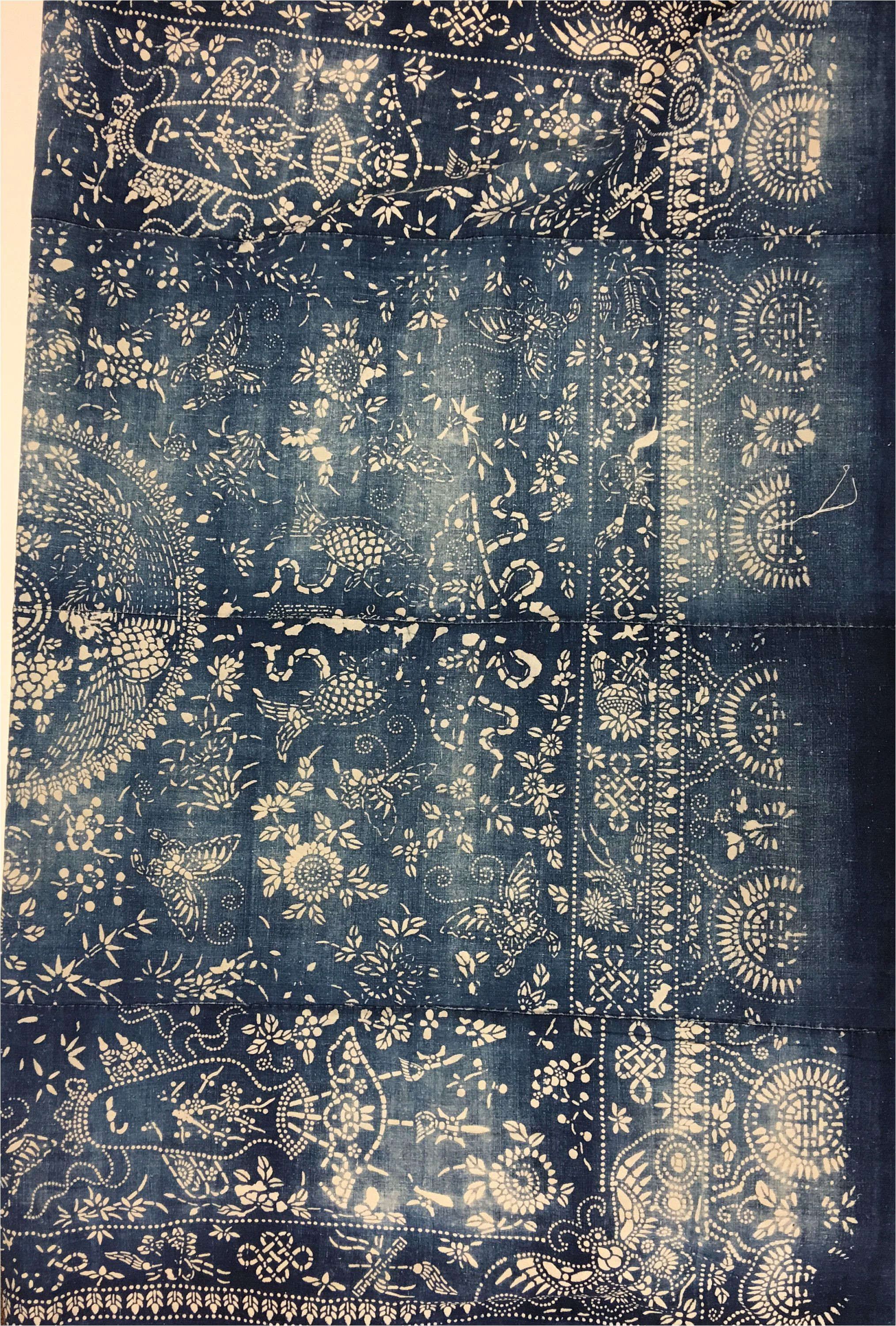 chinese indigo batik in extra large size fabric vintage chinese bedcover traditional chinoiserie boho decor by morrisseyfabric on etsy