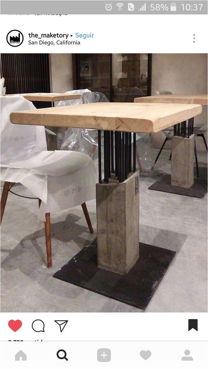 mesa de concreto armado e madeira table reinforced concrete and wood woodworking