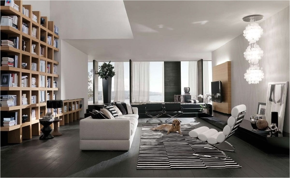 home interior fashionable design modern living room interior with bright minimalist sofas and contemporary home library bookshelves tn17