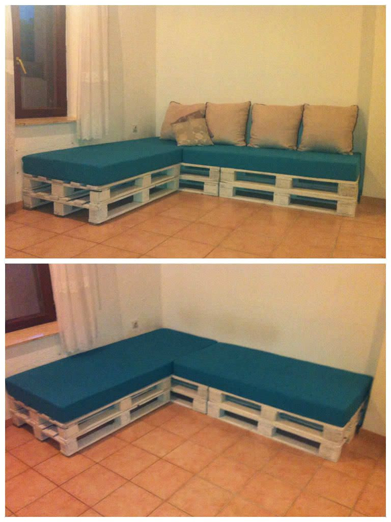 sofa made out of recycled pallets and bad mats palletsofa recycledpallet
