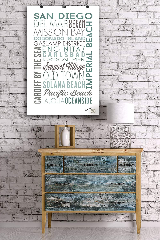 amazon com san diego california green typography 12x18 art print wall decor travel poster home kitchen