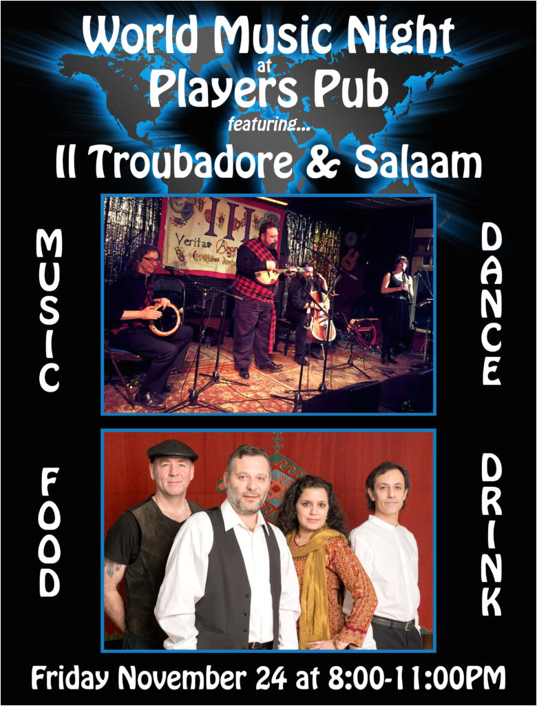 friday november 24th 8 00pm 11 pm with salaam world music night at player s pub bloomington indiana