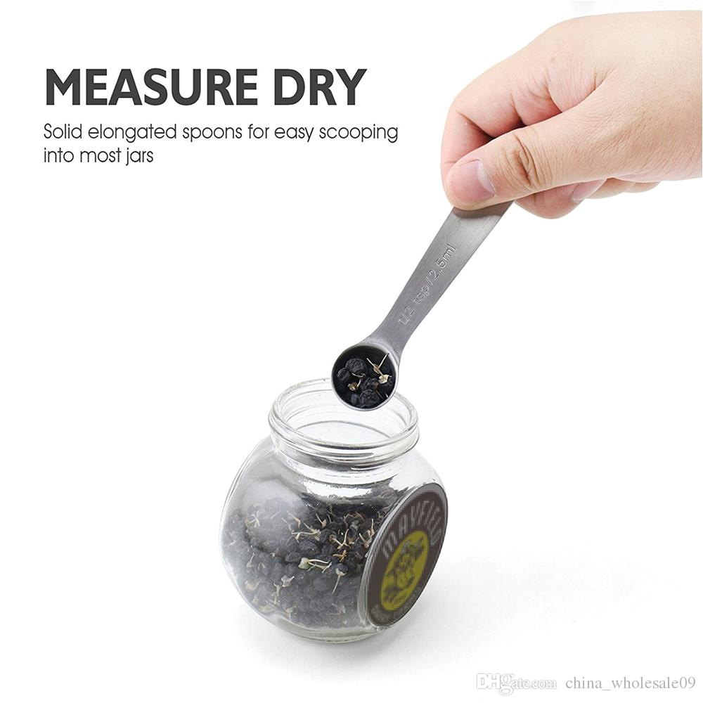 kitchen tools stainless steel measuring spoon set mini tablespoons tea coffee measure cup spice baking cooking