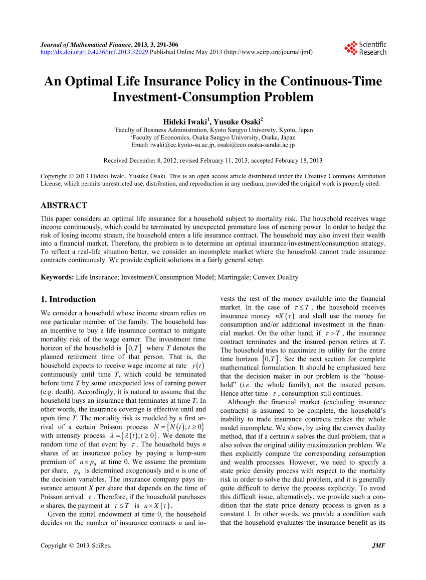 pdf an optimal life insurance policy in the continuous time investment consumption problem