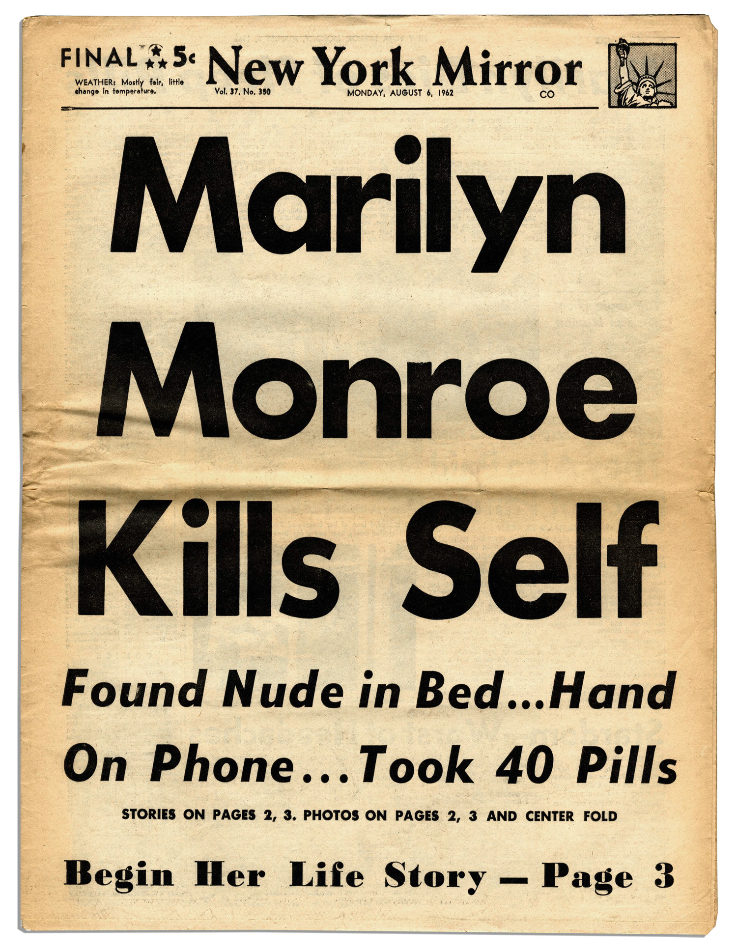 new york mirror front page of august 6 1962 jpeg